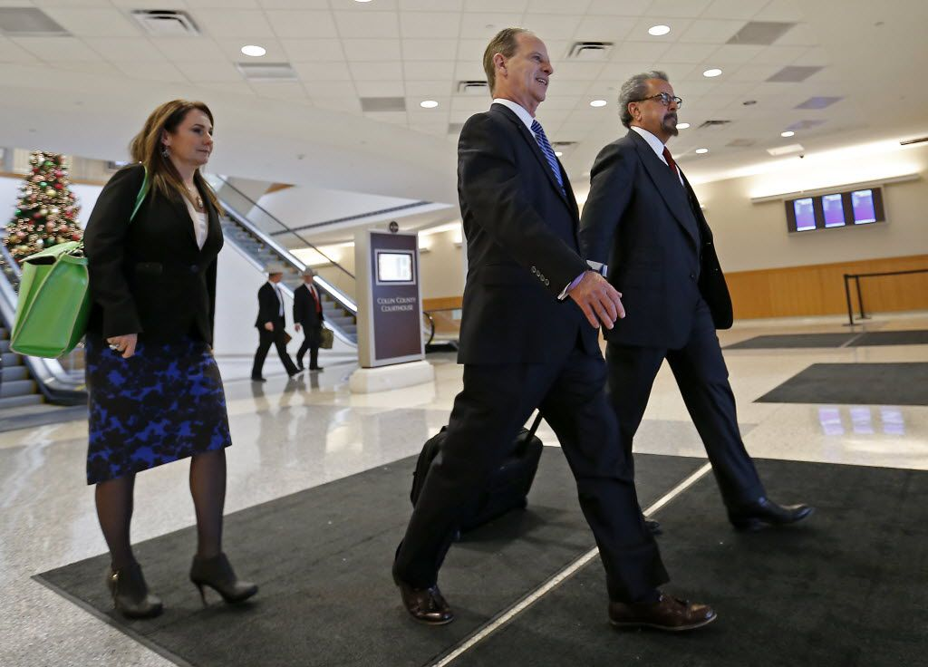 Special prosecutors Nicole DeBorde, left, Brian Wice, center, and Kent Schaffer leave the Collin County courthouse after Texas Attorney General Ken Paxton's pre-trial motion hearing on Tuesday, Dec. 1, 2015, in McKinney, Texas. (Jae S. Lee/The Dallas Morning News)
