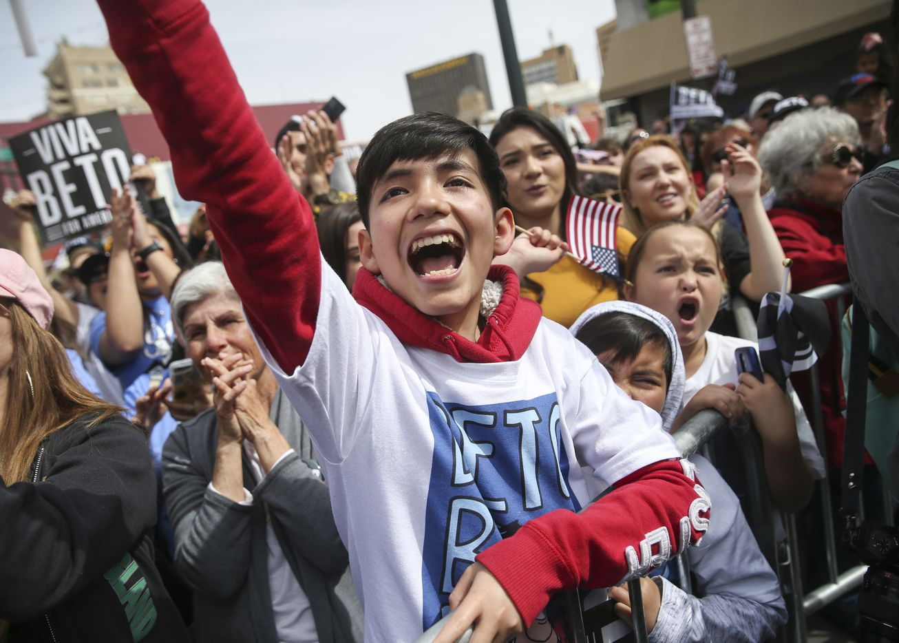 Fans cheer as Beto O'Rourke speaks at his presidential campaign kickoff rally in downtown El Paso on Saturday, March 30, 2019.