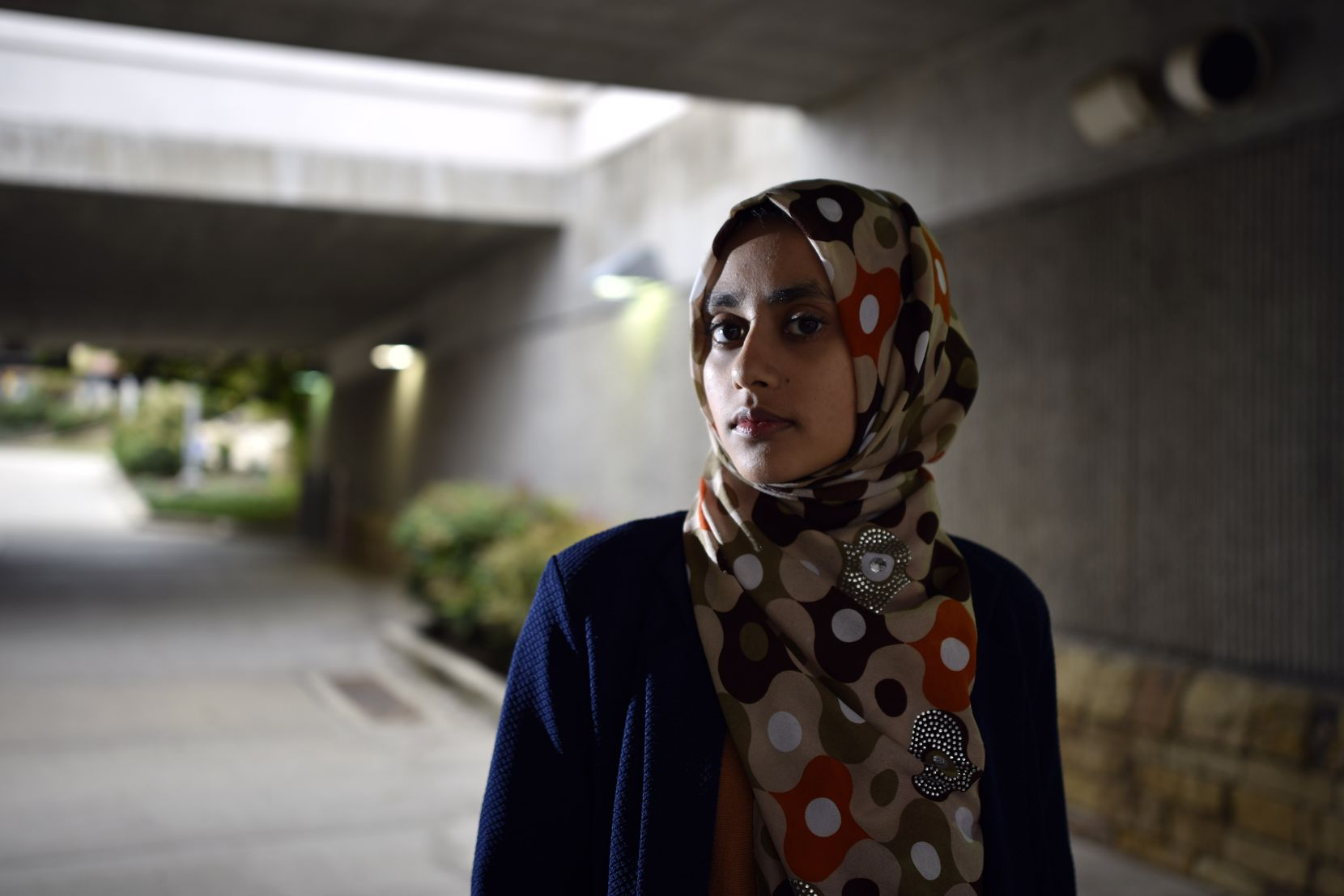Aysha Khan, 21, a Muslim woman, rides the DART from Arapaho Center Station in Richardson to the University of Texas at Dallas. Her parents asked her to start driving to school after Donald Trump was elected president. (Ben Torres/Special Contributor)