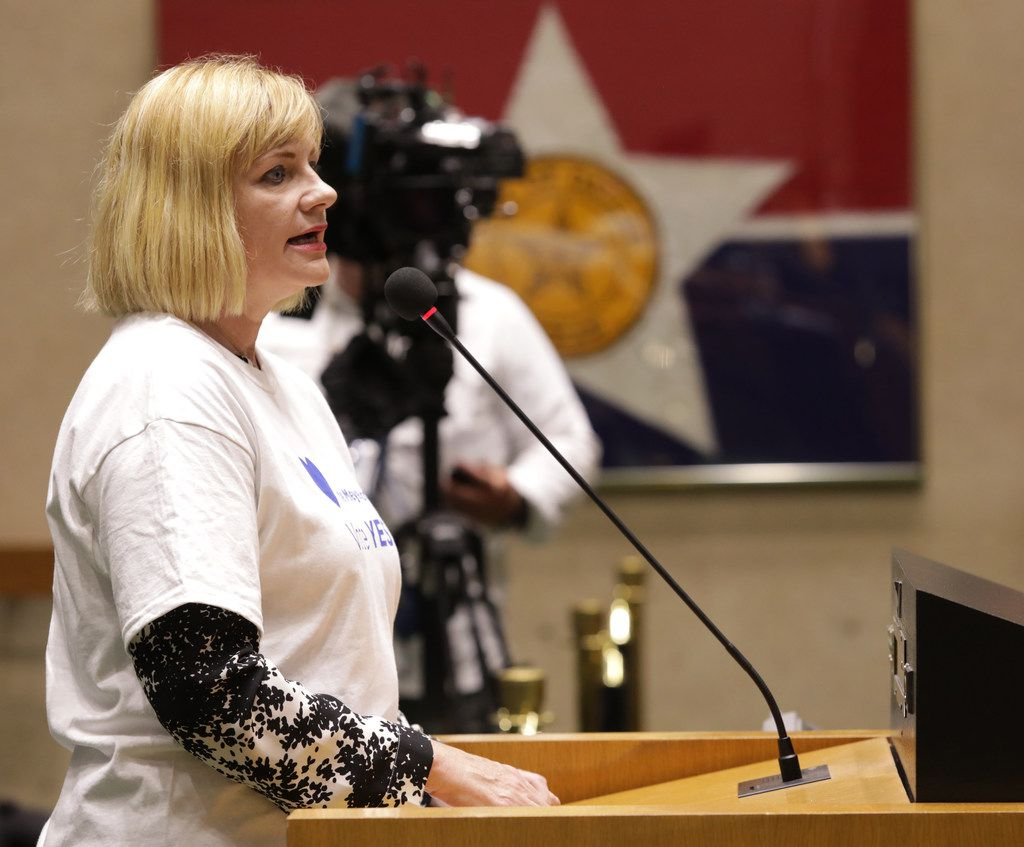 Kim Noltemy, president and CEO of the Dallas Symphony Association, speaks during a City Council meeting at City Hall on Wednesday.