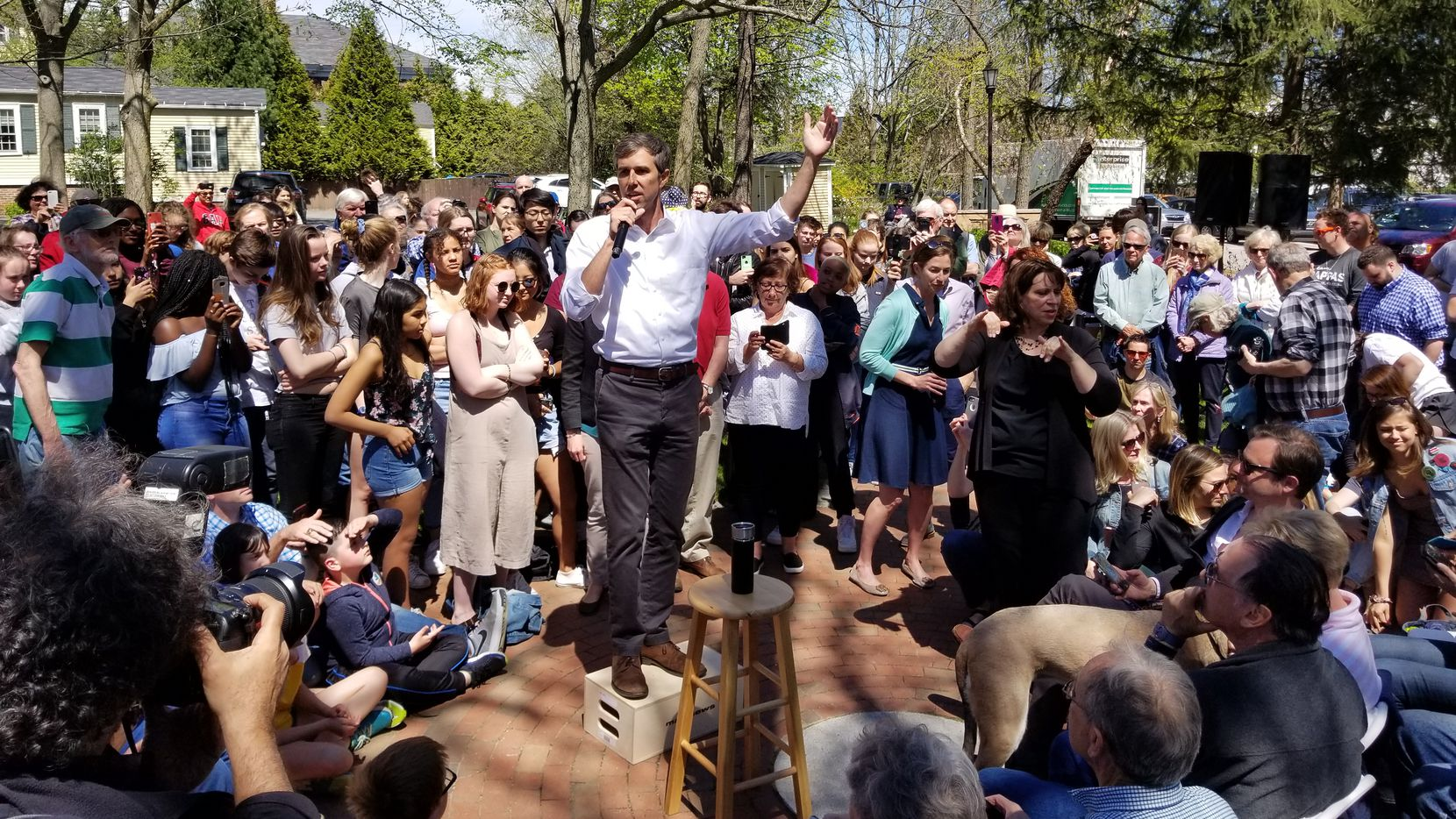 Beto O'Rourke stumps at the Town Hall Common in Exeter, N.H., on May 11, 2019.