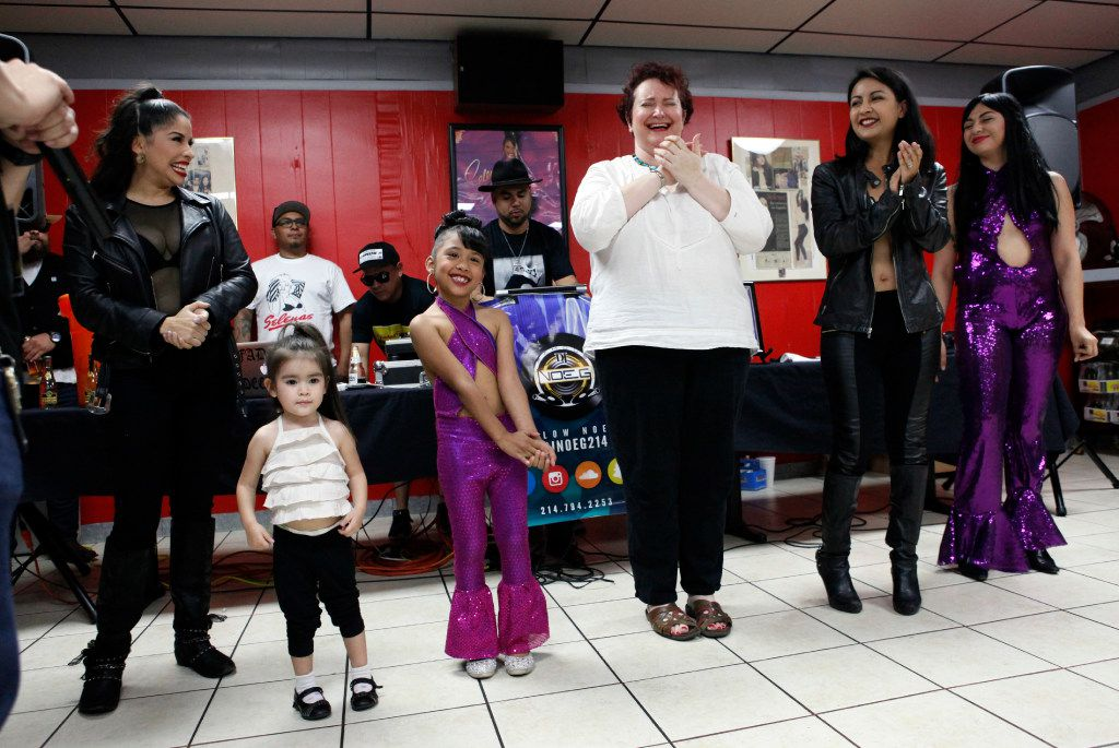Azlie Garcia, 6, third from left, reacts as a crowd cheers for her vote to win a Selena talent contest at #214Selena: A Tribute to Selena, held at Country Burger restaurant in Dallas, Saturday, March 25, 2017. The fourth annual event hosted a Selena talent contest, lowriders, a Selena art show and a mural painting of the Queen of Tejano music by artists Arturo Donjuan and Ponchaveli Studios. Ben Torres/Special Contributor