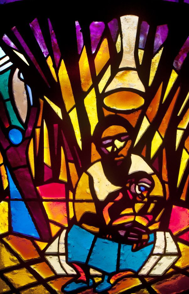 The Nativity stained-glass window designed by artist Jean Lacy is in the sanctuary of the St. Luke Community United Methodist Church in Dallas.