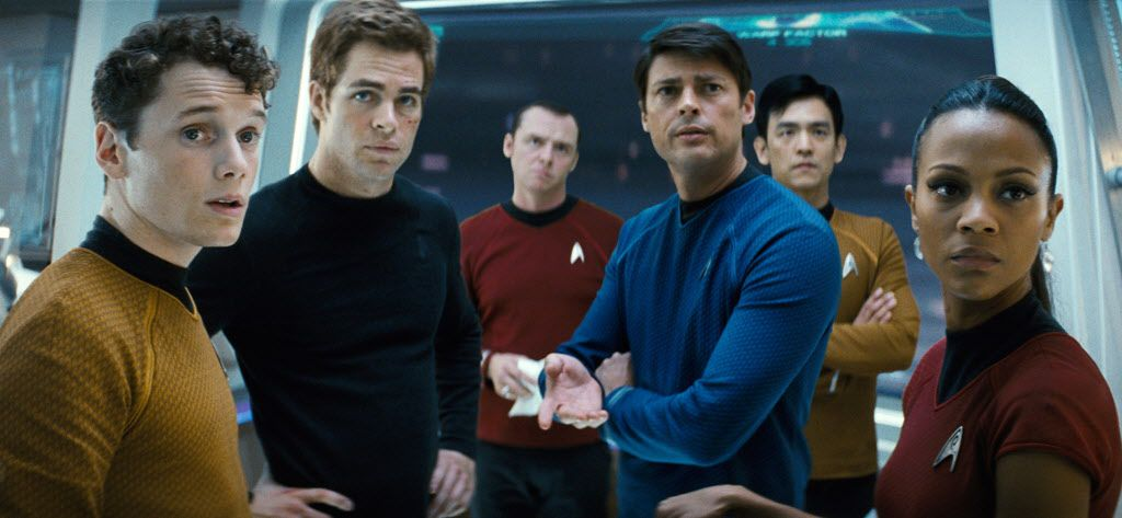 In this film publicity image released by Paramount Pictures, from left, Anton Yelchin as Chekov, Chis Pine as James T. Kirk, Simon Pegg as Scotty, Karl Urban as Bones, John Cho as Sulu and Zoe Saldana as Ohura are shown in a scene from Star Trek.