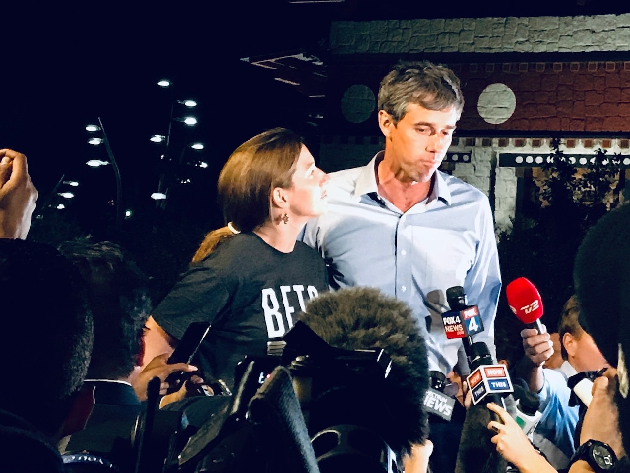 U.S. Rep. Beto O'Rourke returned home Monday, following a statewide campaign and stood alongside his wide Amy at the University of Texas at El Paso.
