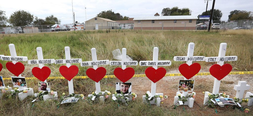 Wooden crosses honored the victims of the First Baptist Church of Sutherland Springs shooting in November.