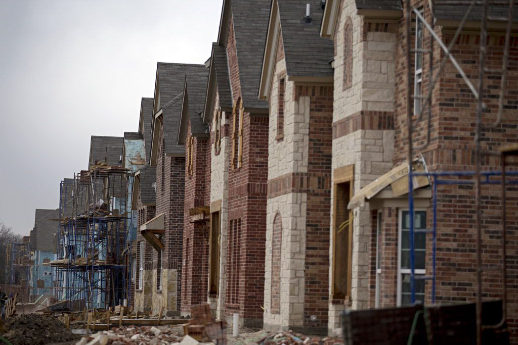 New homes are under construction in the Lawler Park subdivision in Frisco. (G.J. McCarthy/Staff Photographer)