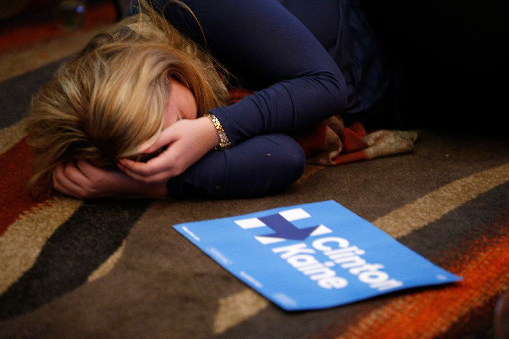 Hillary Clinton supporter Nicole Ferraro was exasperated after she checked the results and Donald Trump began to pick up wins in key states. Ferraro was at the Dallas County Democrats' party at the Hyatt Regency in Dallas late on Nov. 8, 2016.