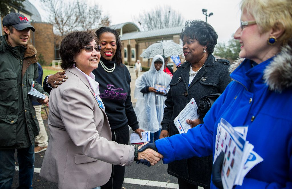 Gubernatorial candidate and former Dallas County Sheriff Lupe Valdez greets supporters outside a polling place after she cast her vote for the 2018 democratic primary on Tuesday, February 27, 2018 at Our Redeemer Lutheran Church in Dallas.