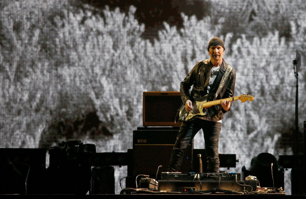 The Edge of U2 performs on stage at AT&T Stadium in Arlington, Texas, Friday, May 26, 2017. (Jae S. Lee/The Dallas Morning News)