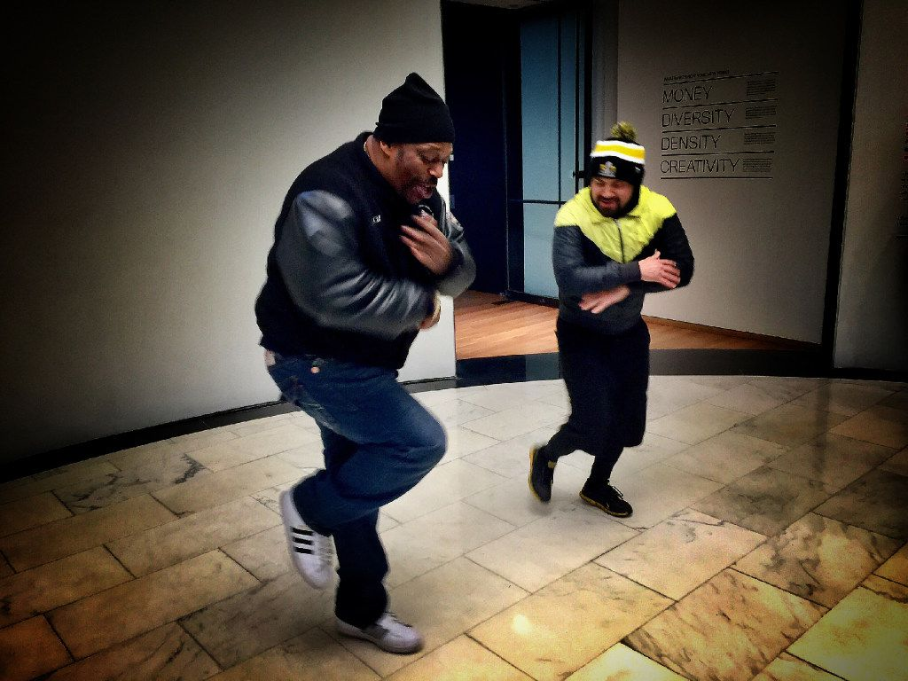 Grandmaster Caz demos some moves with Bboy Mighty Mouse during the Hush hip-hop tour of New York.