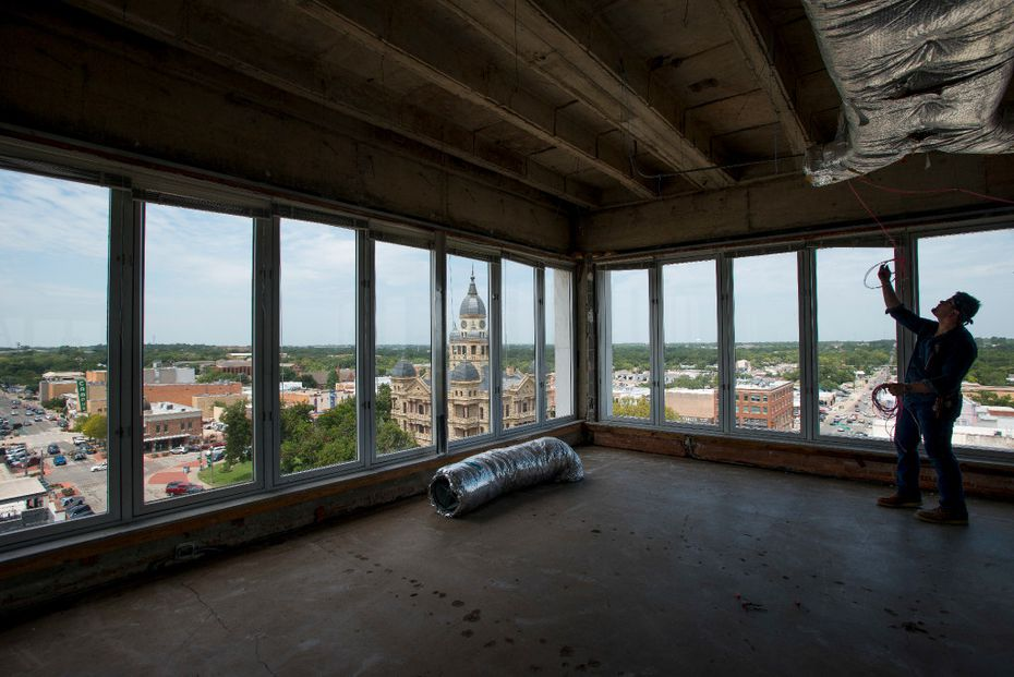 Back in 2017, the space was empty. But look at that view of the Denton County Courthouse-on-the-Square.