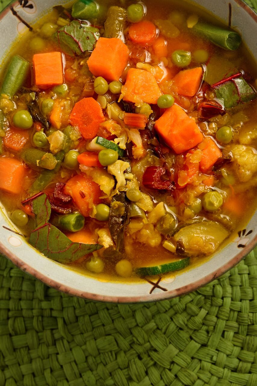 This Mixed Vegetable Soup includes red lentils, cauliflower florets, carrots, celery, turmeric and all sorts of yum. It's Ayurvedic cooking at its most tasty.