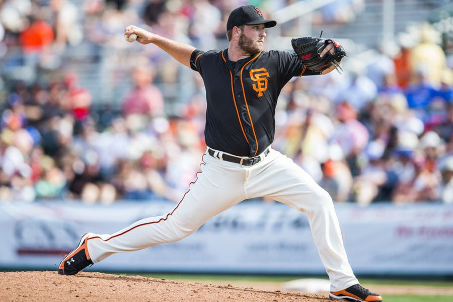 SCOTTSDALE, AZ - MARCH 2: Clayton Blackburn #52 of the San Francisco Giants pitches during a spring training game against the Los Angeles Angels of Anaheim at Scottsdale Stadium on March 2, 2016 in Scottsdale, Arizona. (Photo by Rob Tringali/Getty Images)
