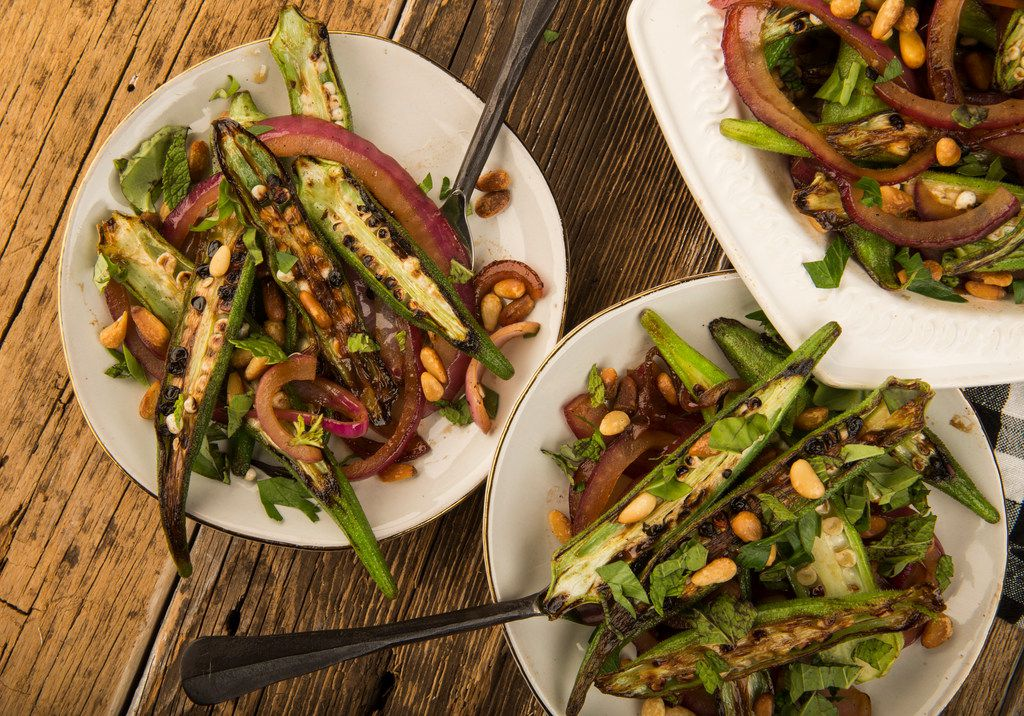 Warm Okra and Red Onion Salad with Pine Nuts