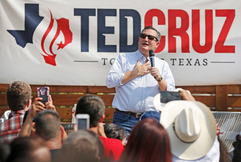 US Senator Ted Cruz is pictured on stage at Ferris Wheelers Restaurant in Dallas on Saturday.