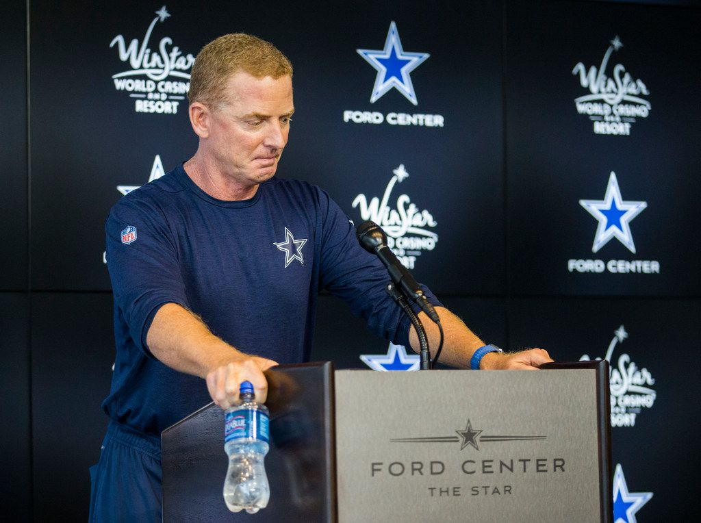 Dallas Cowboys head coach Jason Garrett gets emotional while making a brief statement about the death of Luke Laufenberg, son of NFL broadcaster Babe Laufenberg, during a Dallas Cowboys training camp practice on Thursday, August 22, 2019 at The Star in Frisco. Luke had cancer and died this morning. (Ashley Landis/The Dallas Morning News)