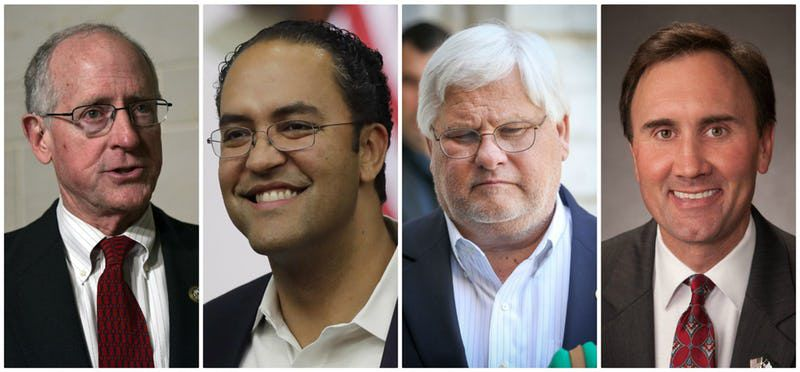 Four Texas Republicans in Congress recently announced that they would not seek reelection next year: from left, Rep. Mike Conaway of Midland, Rep. Will Hurd of San Antonio, Rep. Kenny Marchant of Coppell and Rep. Pete Olson of Sugar Land.