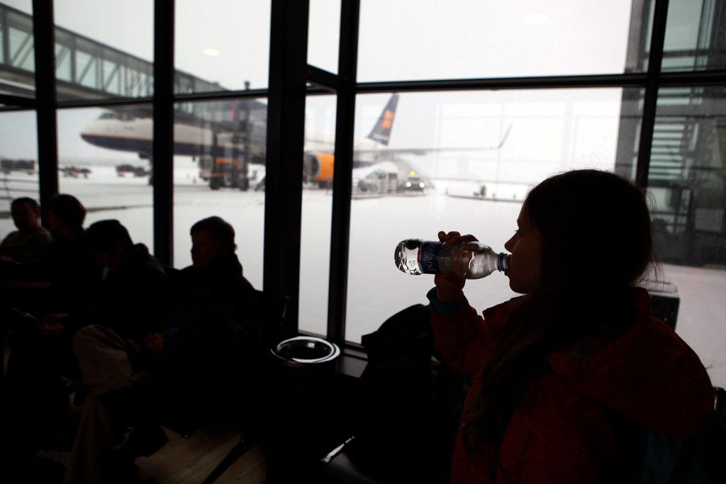 Passengers wait for flights with flagship carrier Icelandair at Iceland's Trans-Atlantic hub, at Keflavik Airport, Iceland.