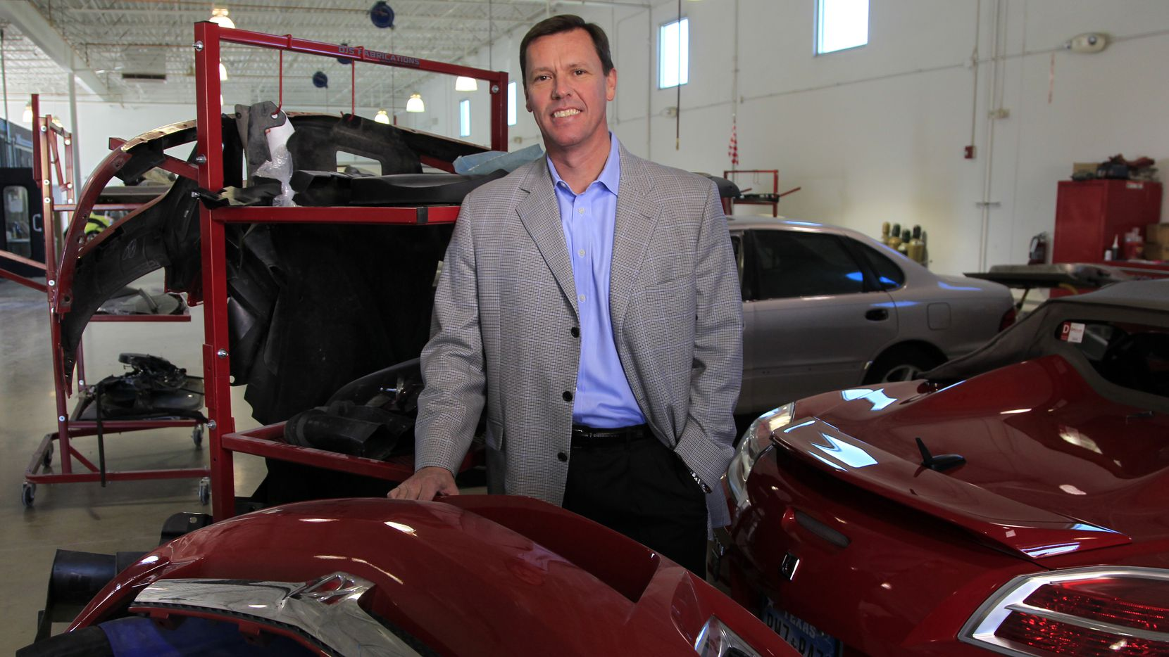 Steve Grimshaw, CEO of Caliber Collision Centers, stands in the body shop at the company's newest location in Keller on Friday, January 27, 2012.  (David Woo/The Dallas Morning News)