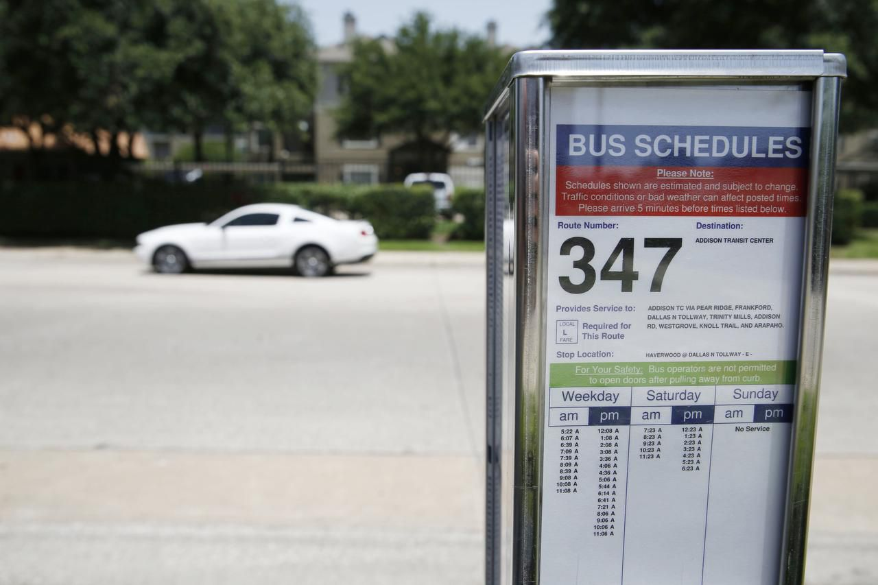 A schedule is on display along the DART 347 bus route at Haverwood Lane near Dallas Parkway.