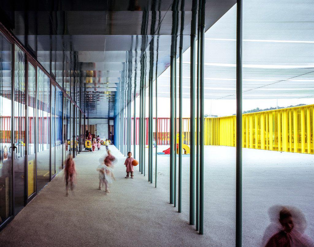 An undated handout photo of El Petit Comte Kindergarten, designed by built by RCR Arquitectes, Besalu, Girona, Spain.
