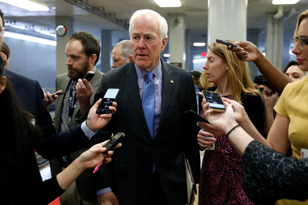 Sen. John Cornyn (R-TX) speaks to reporters at the U.S. Capitol January 18, 2018 in Washington, DC.