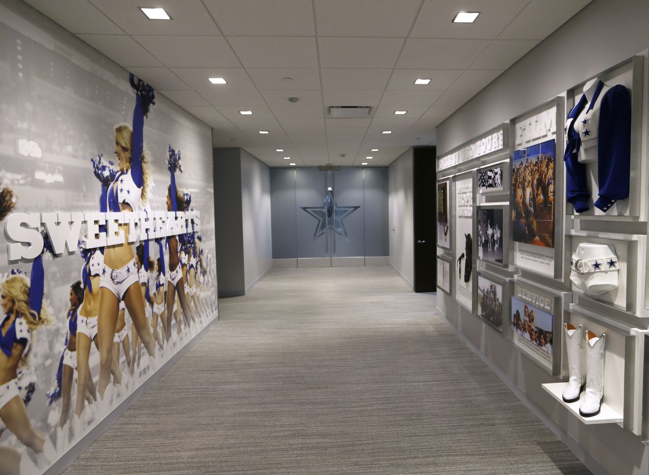 A hallway with displays about the Dallas Cowboys cheerleaders in a nonpublic area at the Dallas Cowboys headquarters at The Star in Frisco on July 17, 2018.