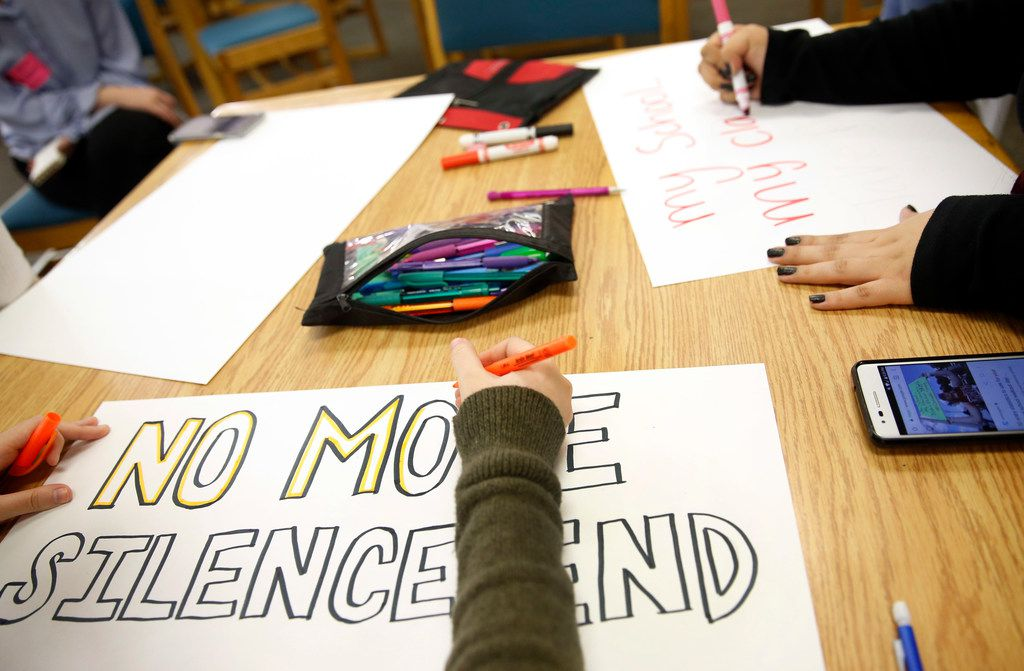 Students made signs for the March for Our Lives rally at Irving High School in Irving, Texas, Tuesday, March 20, 2018. In support of the Parkland, Florida community, the group of students and teachers plan on marching from the Irving DART station to Dallas Saturday. (Tom Fox/The Dallas Morning News)