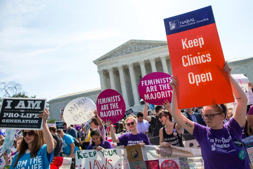 Protesters demonstrated outside the Supreme Court in Washington, D.C, as a challenge to Texas state regulations regarding abortion clinics was heard June 27, 2016.