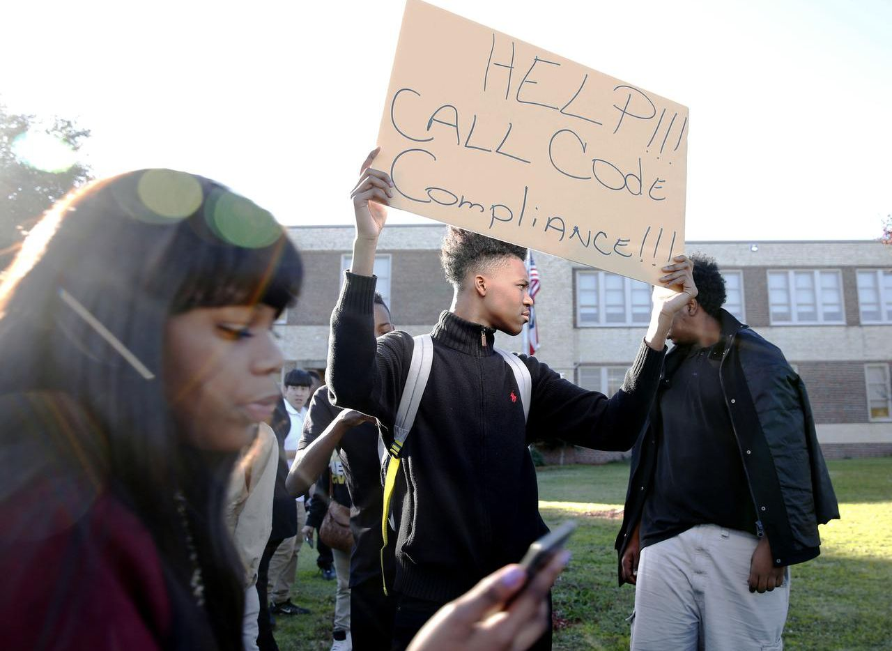 Eleventh-grader Kameron Davis  was part of a walkout to protest building conditions at South Oak Cliff High School in Dallas in December. Among the complaints: leaky roofs, unsanitary bathrooms and too-hot or too-cold classrooms.