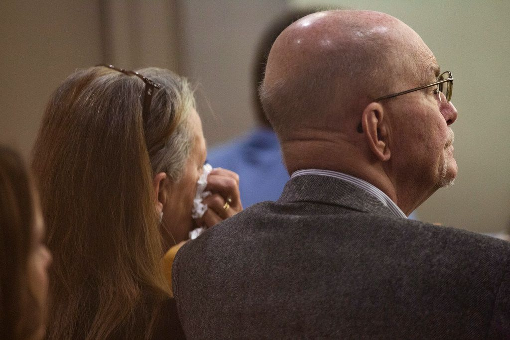 The parents of Kendra Hatcher listen to the closing arguments of the murder trial for Brenda Delgado at the 363rd Judicial District Court at the Frank Crowley Courthouse in Dallas, Friday, June 7, 2019. Delgado was found guilty of capital murder, and was accused of hiring Crystal Cortes and Kristopher Love to kill Hatcher, an Uptown dentist. (Lynda M. Gonzalez/The Dallas Morning News)