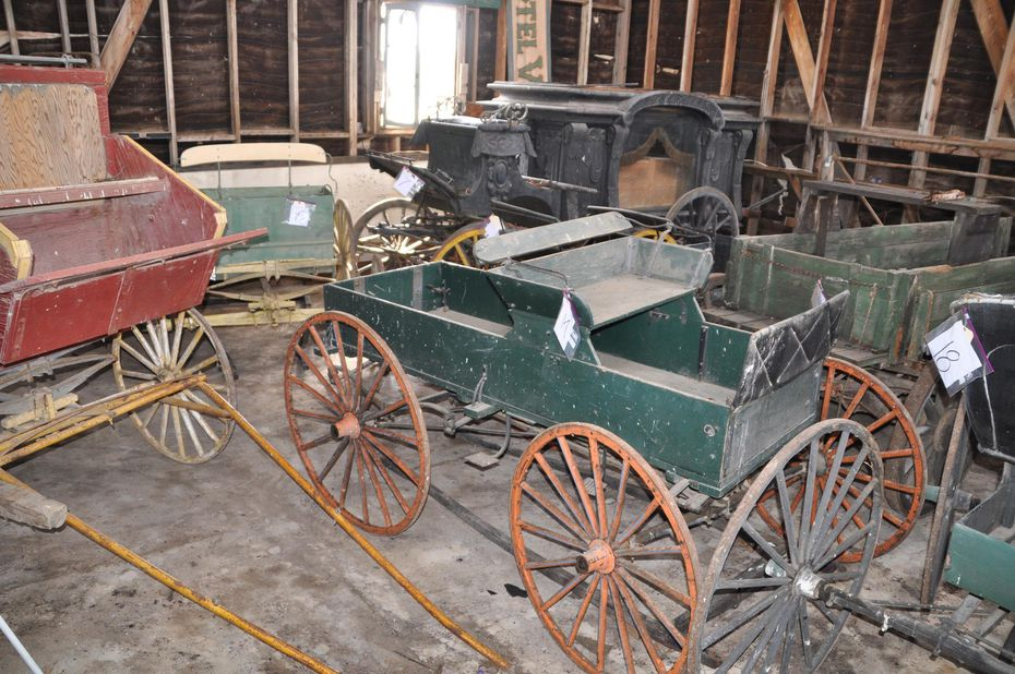 Old-timey vehicles, some of which actually work.