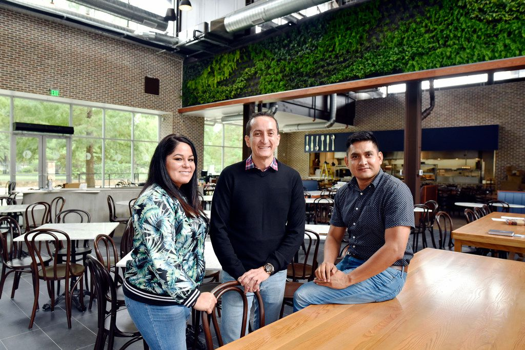 General manager Priscila Olgin (left); Luis Pedro Ibarra, general manager of  El Salvador (middle); and architect Gabriel Perez, inside San Martin bakery and restaurant as it undergoes construction at its first U.S. location in Dallas on Tuesday, Aug. 14. San Martin is a popular bakery and casual dining restaurant based in Guatemala.
