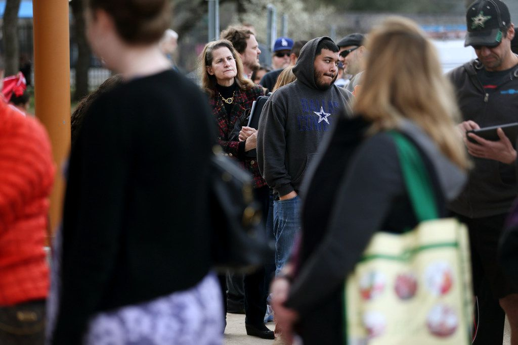 Residents wait outside the Walnut Hill Recreation Center before a meeting for people who are affected by Atmos Energy gas leaks in Dallas on Thursday. The meeting follows a gas explosion that killed 12-year-old Linda Rogers.