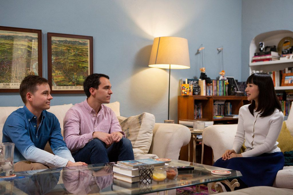 """Marie Kondo's book, """"The Life-Changing Magic of Tidying Up,"""" is the basis for the reality show. In one episode, Frank, center, and Matt seek Kondo's help tidying their shared L.A. apartment as a way of asserting their adulthood."""