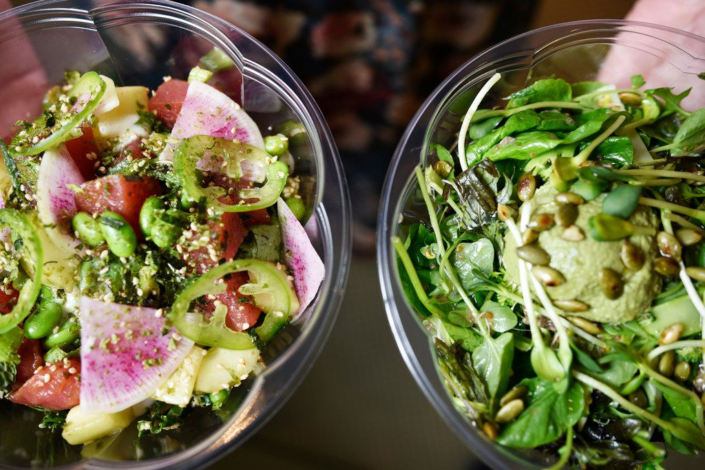 The tuna poke bowl (left) and Power Greens salad at Hatchways Cafe