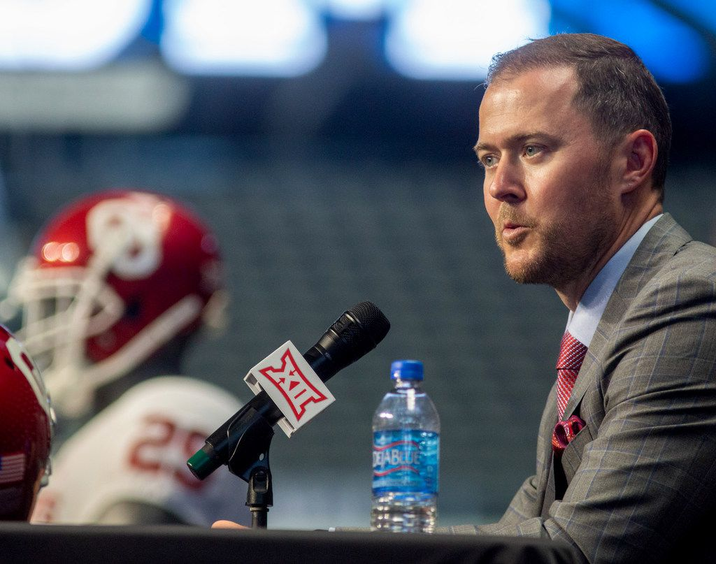 University of Oklahoma head football coach Lincoln Riley speaks during the Big 12 Conference Media Days event at the AT&T Stadium in Arlington, Texas, Monday, July 15, 2019. (Lynda M. Gonzalez/The Dallas Morning News)