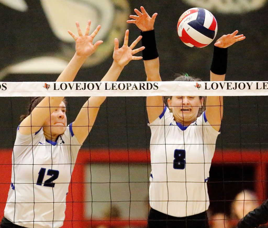 Trophy Club Byron Nelson outside hitter Paige Flickinger (8) attempts a block during a match against Lovejoy on September 10, 2019. (Stewart F. House/Special Contributor)