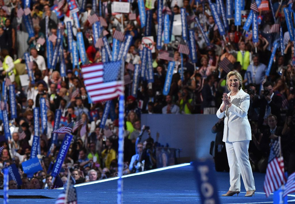 Hillary Clinton in her iconic white pantsuit. Washington Post photo by Ricky Carioti