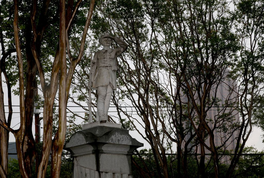 The Confederate Memorial in Greenwood Cemetery in Dallas is across Central Expressway from City Place in Uptown. Photographed Wednesday, August 2, 2017. (Guy Reynolds/The Dallas Morning News)