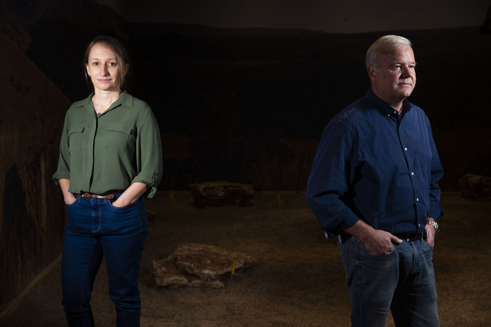 Becca Peixotto, director for the Center of Exploration of the Human Journey at the Perot Museum of Nature and Science, with Lee Berger, a South Africa-based explorer and anthropologist, on Oct. 4, 2019, at the Perot Museum of Nature and Science in Dallas.