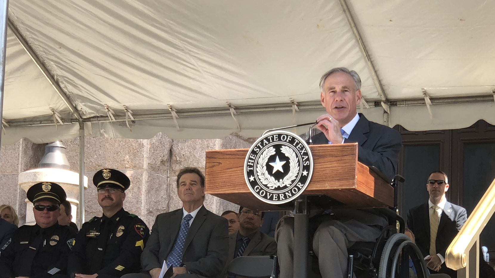 Gov. Greg Abbott gives the keynote address during the Texas Peace Officers' Memorial Service on Monday, May 7, 2018, in Austin, Texas.