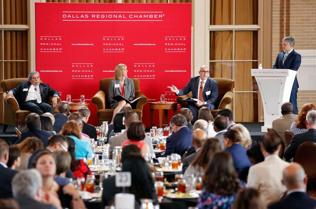(from left) Dallas ISD superintendent Michael Hinojosa, Plano ISD superintendent Sara Bonser and Garland superintendent Ricardo Lopez participated in a panel discussion led by moderator Peter Balyta during the Dallas Regional Chamber's 'State of Public Education' luncheon at Union Station in Dallas, Thursday, September  20, 2018. (Tom Fox/The Dallas Morning News)