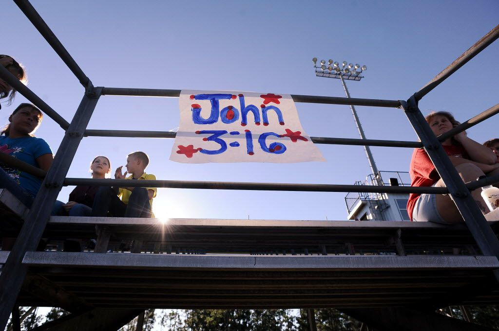 Cheerleaders at Kountze Middle School displayed faith-based  signs at a football game in 2012.