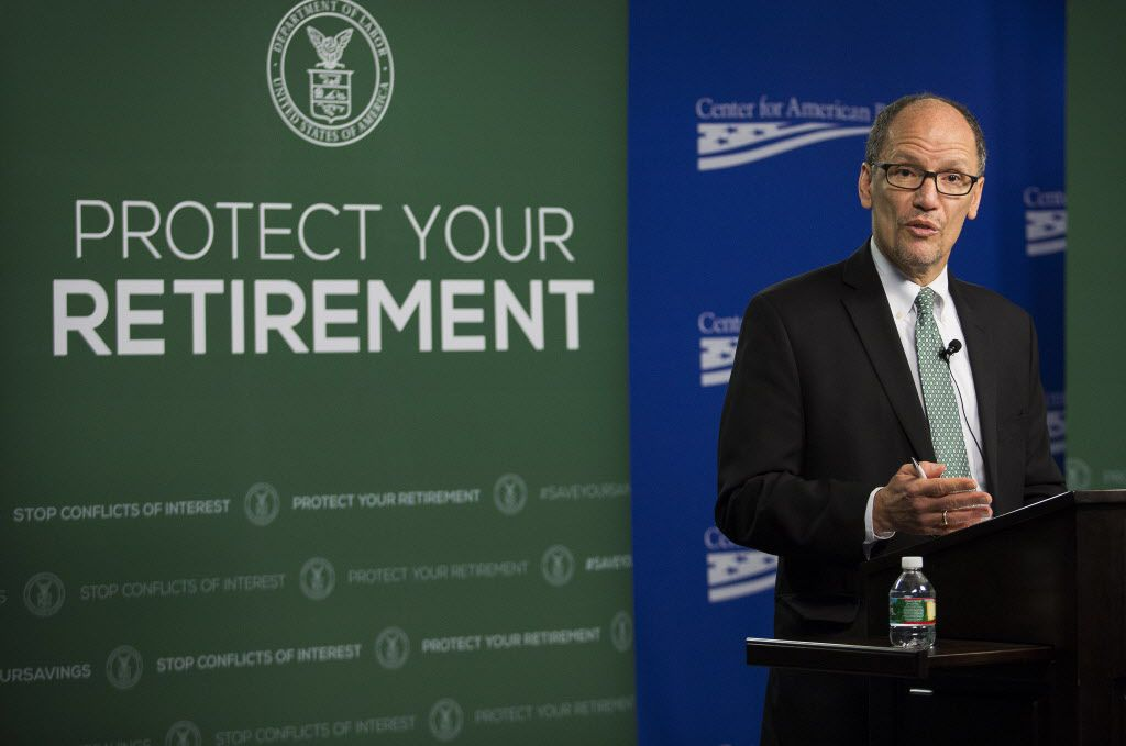 Thomas Perez, U.S. Secretary of Labor, spokeduring a news conference in Washington, D.C., in April. A coalition of national financial institutions and Texas-based business groups filed a lawsuit late Wednesday over the Labor Department's new rule on how financial advisers and brokers guide Americans with their retirement savings. (Drew Angerer/Bloomberg)