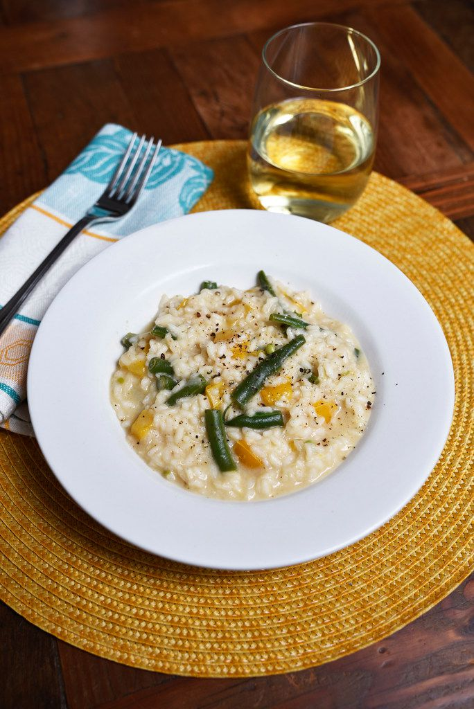 A dish of Marcella Hazan's risotto with green beans and sweet yellow bell peppers served during a wine panel.