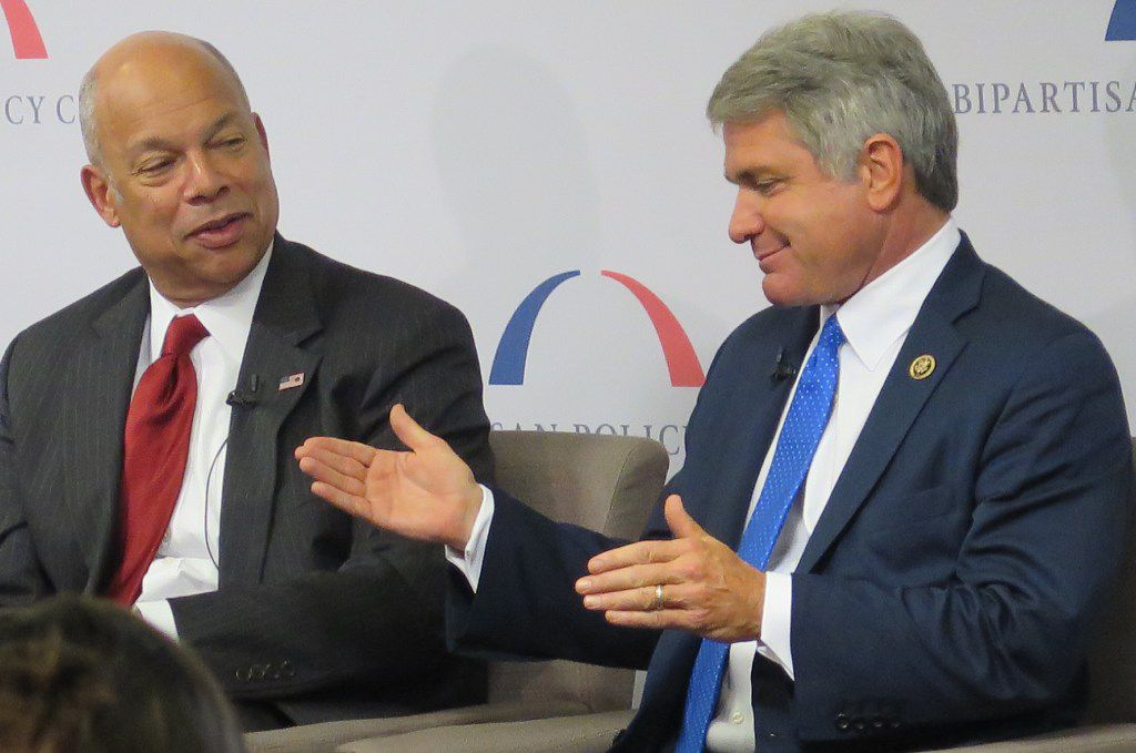 House Homeland Security Committee Chairman Michael McCaul (right), R-Austin, speaks about fighting terrorism with the man he hopes to succeed, Homeland Security Secretary Jeh Johnson. (Todd J. Gillman/Staff)