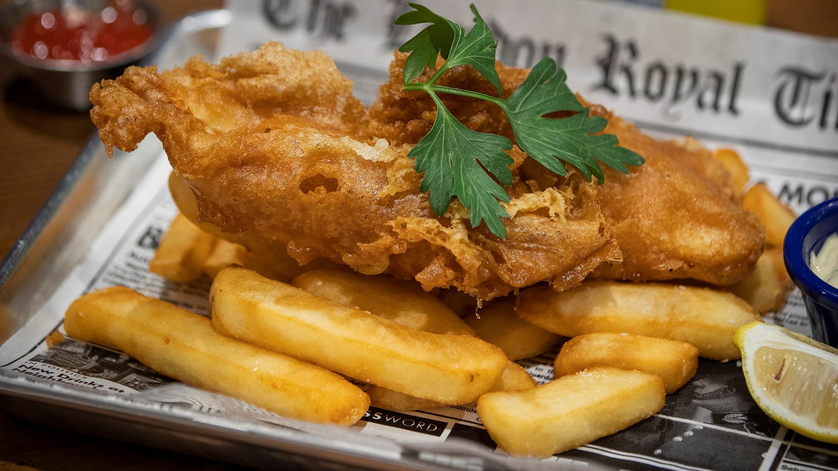 The house favorite fish and chips is the most popular item on the menu at Fish and Fizz.