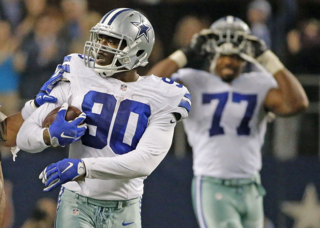 Dallas Cowboys defensive end DeMarcus Lawrence (90) is pictured after his fumble recovery during the Detroit Lions vs. the Dallas Cowboys NFL playoff game at AT&T Stadium in Arlington on Sunday, January 4, 2015.  (Louis DeLuca/The Dallas Morning News)